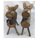Pair of Wooden Deer Figures
