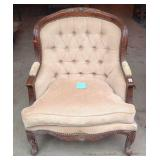 Large carved French provincial wing back chair