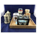 Tiled Serving Tray of Budweiser Steins and Others