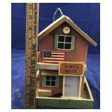 Wooden School House Bird Feeder