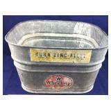 Vintage Wheeling Dura-Zinc-Alloy Wash Tub