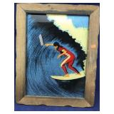 Vintage/ Retro Colorful Framed Surfing Picture