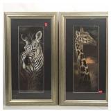 Pair of African Animal Art - Zebra & Giraffe