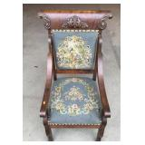 Needlepoint Cushioned Chair w/ Wood Carvings