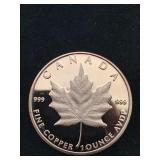 Canadian Maple Leaf 1 Oz AVDP .999 Copper Round