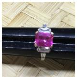 Silver Tone Ring With Pink and Clear Stones