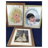 Framed Young Girl Pictures Plus Stuffed Bears