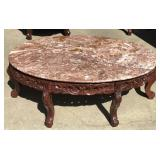 Pink Marble Top Coffee Table with Ornate Wood Base