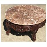 Round Pink Marble End Table w/ Ornate Wood Base