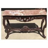 Pink Marble Hall Table w/ Ornate Wood Base