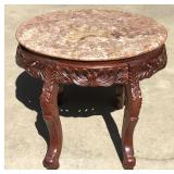 Pink Marble Top End Table w/ Ornate Wood Base