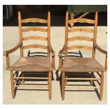 Pair of Vintage Oak Woven Seat Chairs