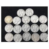 17 Mercury Dimes - Various Dates