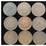 9 Indian Head Cents - Various Dates