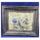 Vintage Framed Signed Vietnamese Dragon Tile