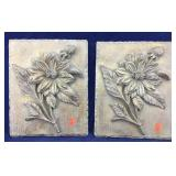 Pair of Identical Gold Finish Flower Wall Plaques