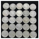 25 Buffalo Nickels - No Dates