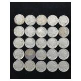 25 Buffalo Nickels - Various Dates