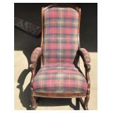 Antique Clawed Armed Upholstered Rocking Chair