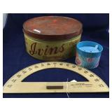 Vintage Ivins Wafer Tin, Wood Protractor, Etc.