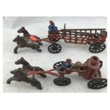 Old Cast Iron Horse Drawn Fire Wagons