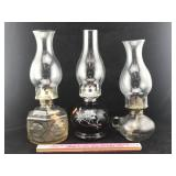3 Glass Oil Lamps