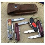 4 Pocket Knives and a Leather Sheath