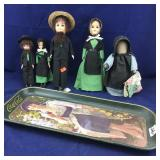 5 Amish Dolls Plus Old Coke Tray