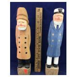 Pair of Wooden Ship Men or Sailors or Watermen