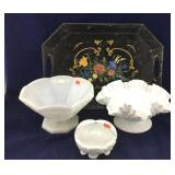 3 Pieces of Milk Glass Plus Large Black Towle