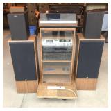 Stereo Set with Speakers and Glass Door Cabinet