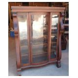 Antique Empire Oak Bowfront China Cabinet