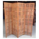 Four Panel Teak Divider Screen