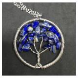 18 Inch Lapis Tree of Life Silver Tone Pendant