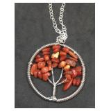 18 Inch Coral Tree of Life Pendant on Silver