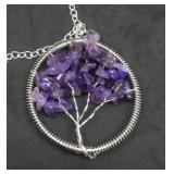 Amethyst Tree of Life Pendant on 24 Inch Silver