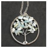 Amazonite Tree of Life Pendant on 24 Inch Silver