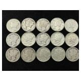 15 Silver Mercury Dimes - Various Dates