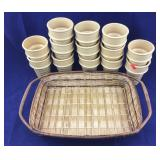 13 Ceramic Ice Cream Cups & Basket