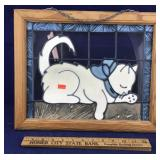 Framed Picture of White Cat.