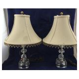 Pair of Vintage Crystal Style Lamps