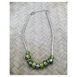 Pandora Style 16.5 inch Green Glass Silver Tone