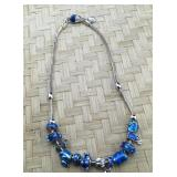 Blue Pandora Type Heavy Sterling and Silver Tone