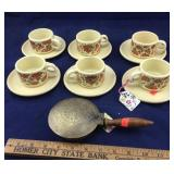 6 Piece Yugoslavian Tea Set Plus Small Brass