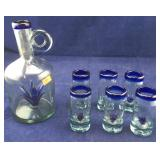 Hand Blown 7 Piece Liquor Set