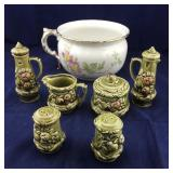 English Chamber Pot Plus Vintage Condiment Set