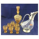 Vintage Gold Liquor Set Plus Silver Plated Pitcher