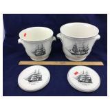 Copeland Spode Ice Buckets w/ Ship Motif