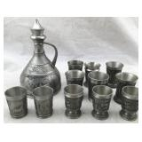 German Pewter Decanter with Pewter Shot Glasses