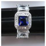 Lab Created Blue and White 3 Stone Sapphire Ring